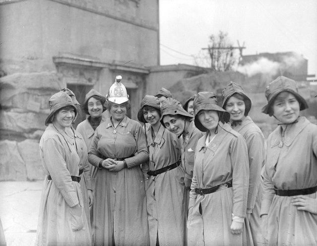 Members of the Women's Fire Brigade with their Chief Officer, March 1916. (Photo by Topical Press Agency)