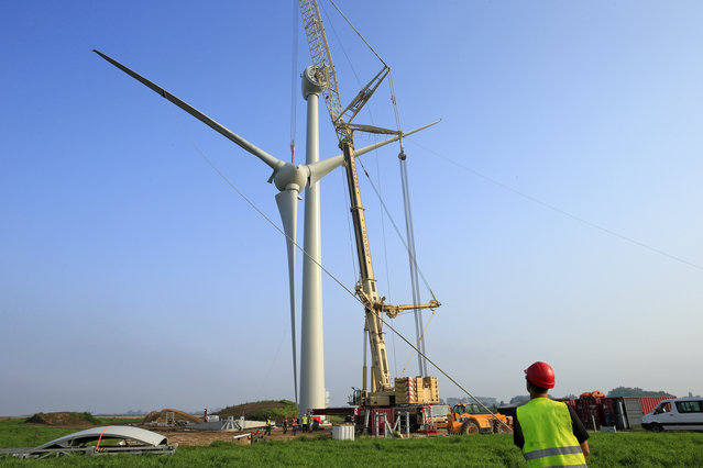 An employee looks at the lifting of the rotor hub on the tower part of a turbine in Meneslies, France July 23, 2014. (Photo by Benoit Tessier/Reuters)