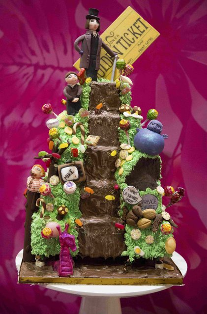 "A cake decorated in the style of the Roald Dahl children's book ""Charlie and the Chocolate Factory"" is displayed at the Cake and Bake show in London, Britain October 3, 2015. (Photo by Neil Hall/Reuters)"