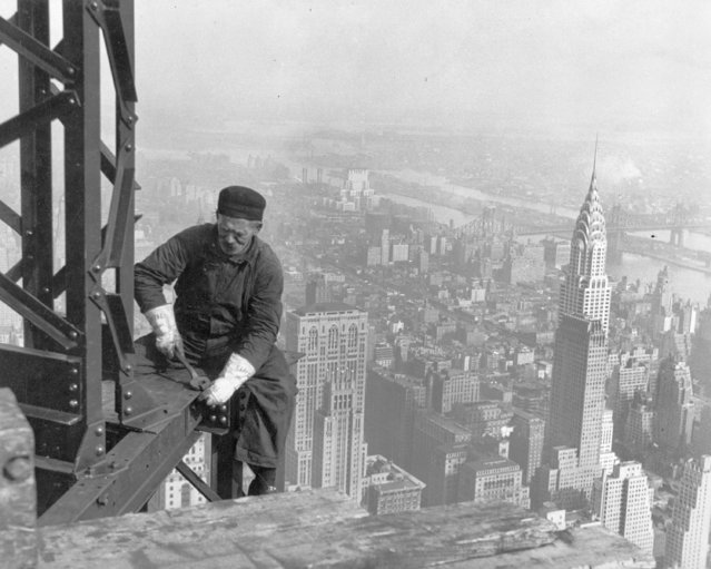 """Old-timer, – keeping up with the boys. Many structural workers are above middle-age. New York City, Empire State Building, 1930"". (Photo by Lewis Hine)"