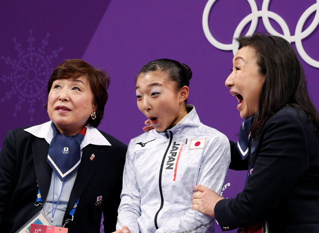 Japan' s Kaori Sakamoto reacts after her performance in the women' s single skating short program of the figure skating event during the Pyeongchang 2018 Winter Olympic Games at the Gangneung Ice Arena in Gangneung on February 21, 2018. (Photo by John Sibley/Reuters)