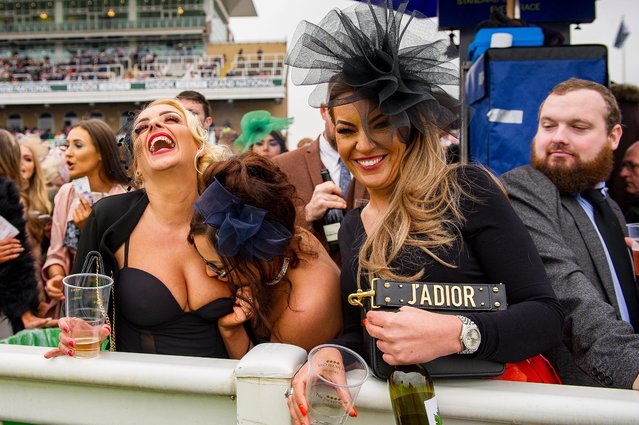 Racegoers during Ladies Day at the Grand National Festival at Aintree Racecourse on April 13, 2018 in Liverpool, England. (Photo by Mercury Press)