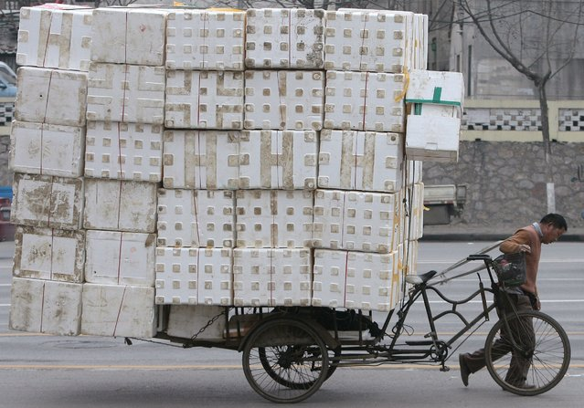 A migrant worker pulls a cart loaded with discarded plastic foam for recycling in Nanjing, Jiangsu province February 7, 2009. (Photo by Sean Yong/Reuters)